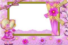 Estrutura violeta para uma foto, com menina. Foto de Stock Royalty Free