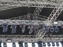 Estruturas do equipamento e do speake dos projetores da iluminação de fase Fotografia de Stock