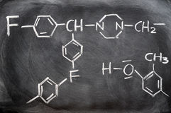 Estruturas químicas em um quadro-negro Foto de Stock