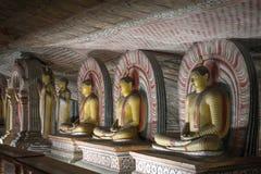 Estátuas de Buddha no templo da rocha de Dambulla, Sri Lanka Fotografia de Stock Royalty Free