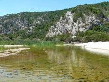 Estuario dei Di Luna di Codula del fiume a Cala Luna Bay Fotografie Stock Libere da Diritti