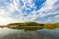 Estuary Of A Small River On A Sandy Beach, Greece. Stock Images
