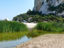 Estuary of River Codula di Luna at Cala Luna Bay Stock Photography