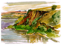 Estuary, watercolor. Painting, watercolor. Coast of lake stock illustration