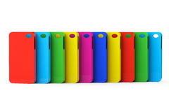 Estuches de plástico multicolores del teléfono móvil ilustración del vector