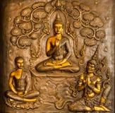 Estuco tailandés del arte en la pared de la iglesia Imagen de archivo