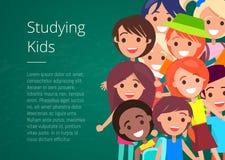 Estudando a ilustração do vetor das crianças ilustração stock