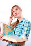 Estudando a mulher nova feliz Foto de Stock Royalty Free