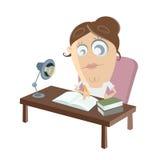 Estudando o clipart da mulher Imagem de Stock