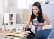 Estudante atrativa que aprende em casa Fotografia de Stock Royalty Free