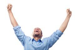 Estudante bem sucedido no branco Imagem de Stock Royalty Free