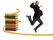 Estudante bem sucedido novo que mostra a felicidade Imagem de Stock