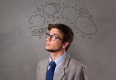 Estudante com conceito do bate-papo da garatuja foto de stock royalty free