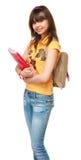 Estudante com livro e saco Imagem de Stock Royalty Free