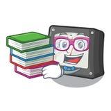 Estudante com medidor da amperagem do livro acima da tabela dos desenhos animados ilustração stock