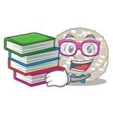 Estudante com os bolos de arroz do livro isolados na mascote ilustração royalty free