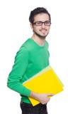 Estudante com os livros isolados no branco Fotografia de Stock