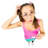 Estudante de Confised com teste de gravidez positivo Imagem de Stock