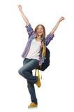 Estudante de jovem mulher com a trouxa isolada Foto de Stock Royalty Free