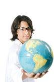 Estudante de Sience que prende um globo Imagem de Stock Royalty Free