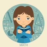 Estudante de sorriso com o livro de texto em suas mãos math ilustração do vetor