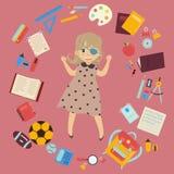 Estudante deficiente com fontes do remendo e de escola do olho ilustração stock