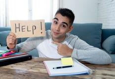 Estudante desesperado novo no esforço que trabalha e que estuda guardando um sinal da ajuda imagem de stock