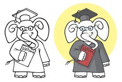 Estudante do elefante com diploma Foto de Stock Royalty Free