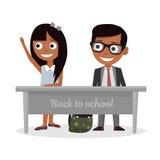 A estudante e a estudante que sentam-se na mesa e levantam minha mão na classe ilustração do vetor