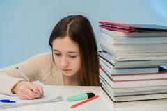 Estudante fêmea absorvido imagens de stock royalty free