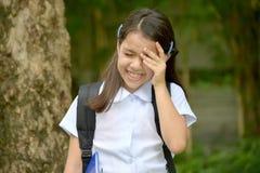 Estudante fêmea asiático de grito Wearing School Uniform da preparação fotografia de stock