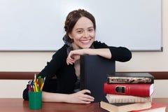 Estudante fêmea bonito com livros Fotografia de Stock
