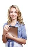 Estudante fêmea com computador da tabuleta imagens de stock
