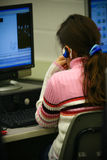 Estudante fêmea no computador Imagens de Stock Royalty Free