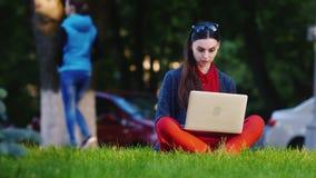 Estudante fêmea que senta-se na grama no parque, usos um portátil vídeos de arquivo