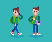 Estudante feliz em poses diferentes Jogo de caracteres dos desenhos animados Projeto liso Imagens de Stock Royalty Free