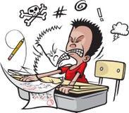 A estudante golpeia a cabeça ilustração stock