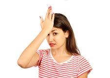 Estudante infeliz, trabalhador fêmea, mão em deprimido desapontado triste muito virado da testa menina emocional isolada no backg fotografia de stock royalty free