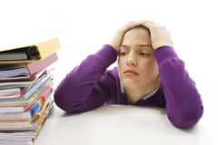 Estudante irritada com dificuldades de aprendizagem Fotografia de Stock