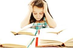 Estudante irritada com dificuldades de aprendizagem fotos de stock royalty free