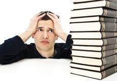 Estudante irritado com dificuldades de aprendizagem Imagem de Stock Royalty Free