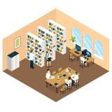 Estudante Library Isometric Design Imagem de Stock