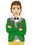 Estudante masculino na camiseta encapuçado com os braços dobrados Imagens de Stock