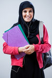 Estudante muçulmano antes das classes fotografia de stock royalty free