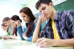Estudante no exame Imagens de Stock