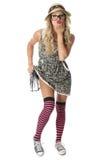Estudante novo gracioso Wearing Mini Dress Imagens de Stock Royalty Free