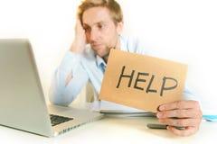 Estudante novo Overwhelmed que pede a ajuda Fotografia de Stock Royalty Free