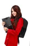 Estudante novo pronto para a escola isolada no branco Fotografia de Stock
