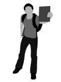 Estudante novo que mostra seu livro ilustração do vetor
