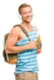 Estudante novo seguro de volta à escola no fundo branco Imagem de Stock Royalty Free